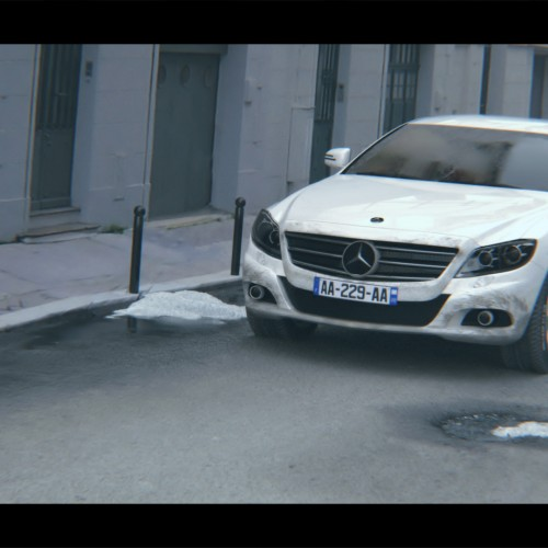 Rendu d'une Mercedes-Benz dans une environnent full CG